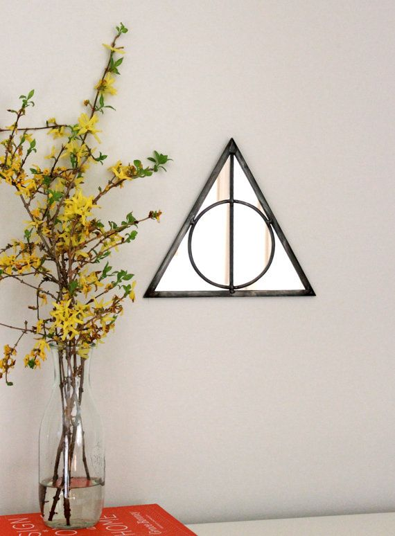 Triangle Circle Wall Mirror Geometric / Handmade Wall Mirror Pyramid Deathly Hallows Harry Potter  > > > This item is made to order. Please allow up to
