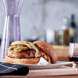 Barbecue-Glazed Turkey Burgers-so yummy. Added sautéed shoestring onions. Delish!