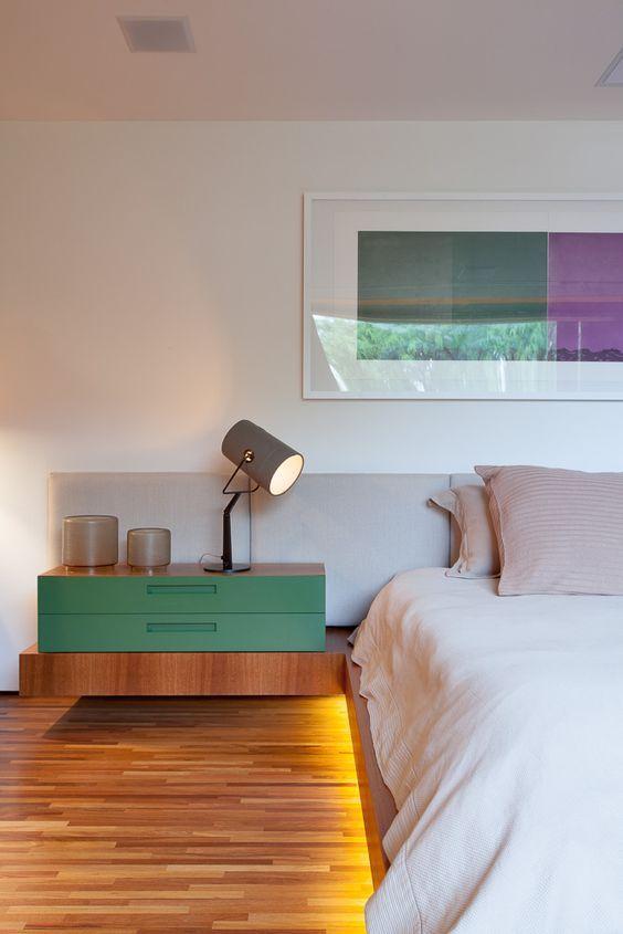 Color Block Bedroom Design With Light Up Bed And Modern Furniture. Serene  But Interesting Decor.