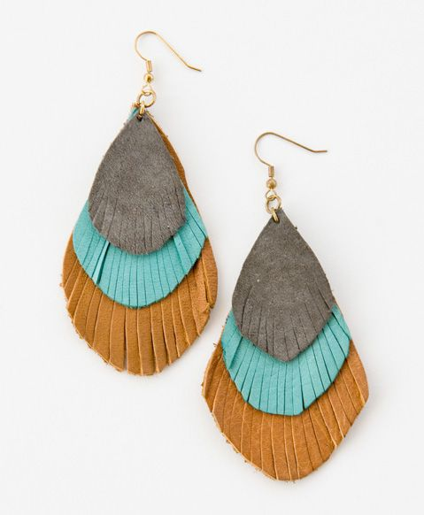 Annie's Feathered Earrings, hand cut leather in feathered shapes are the perfect bohemian touch to any outfit. Made in India.