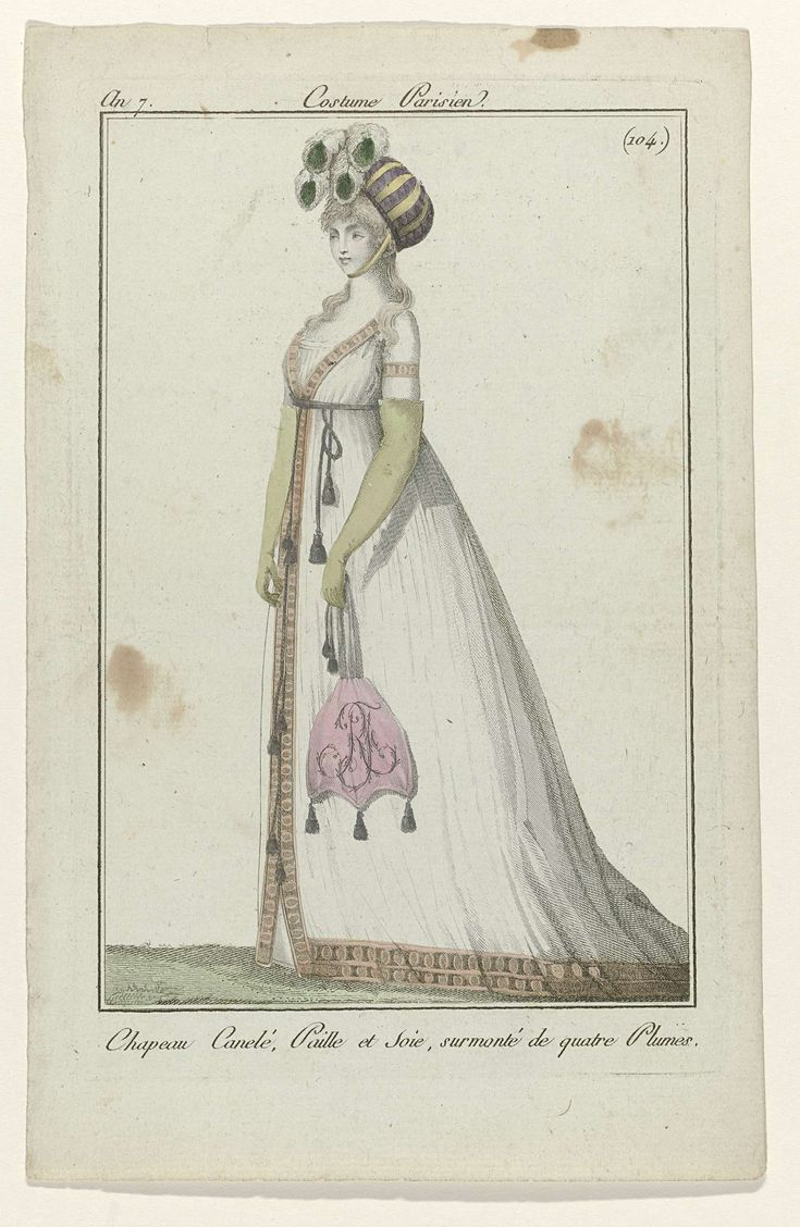 Journal des Dames et des Modes, Costume Parisien, 29 avril 1799, An 7 (104) : Chapeau Canelé,..., Anonymous, 1799