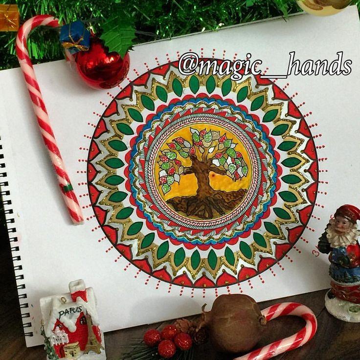 """Instagram'da @magic__hands: """"Birlik, beraberlik, kardeşlik içinde yeni bir geleceğe doğru sevgi, barış, sağlık ve mutluluk dileklerimle yeni yılınızı kutlarım❤️☃✌️❤️ Yeni yıl mandalam{31.12.2015}☮❤️ #mandala #mandalas #zendala #zentangle #doodle #drawing #art #artist #artoftheday #nar #merrychristmas #christmas #yeniyıl #happy #happynewyear #photooftheday #aniyakala #peace #şükürlerolsun #design #winter #kar #holiday #100mandalas #spiritual #tree #treeoflife"""""""