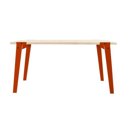 Table: red and wood.