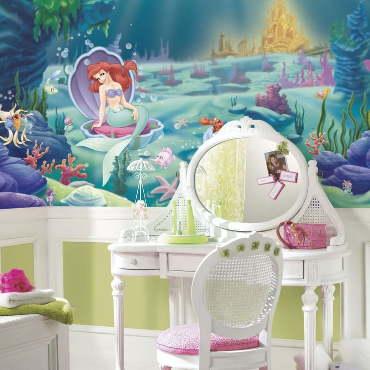 disney wallpaper for bedrooms. disney little mermaid wallpaper mural girls green wall decor bedroom decorations disney wallpaper for bedrooms