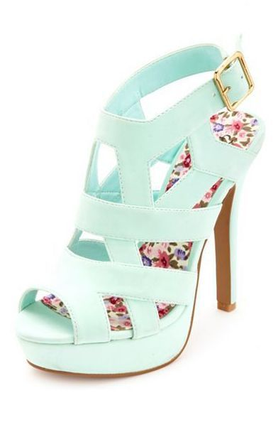 Gorgeous Mint Heels These mint high heels are just adorable with back buckle closure and floral printed sole. Cute caged design gives a gorgeous look.