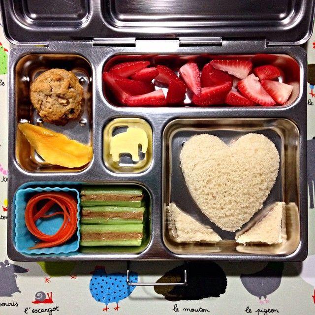 lunch: cream cheese + salami sandwich, strawberries, apple-walnut cookie, dried mango, carrot string, celery & PB, and sharp cheddar