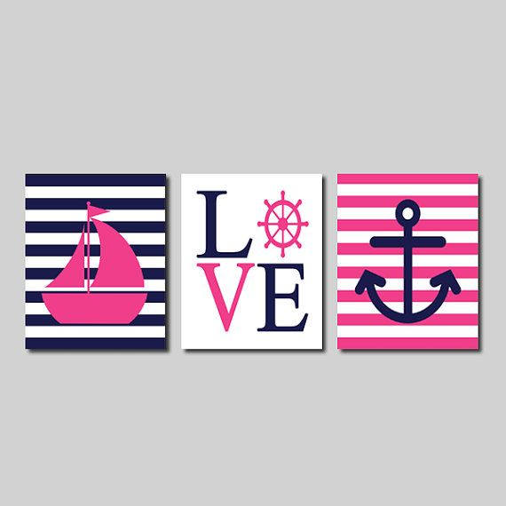 Nautical Hot Pink Navy Wall Art Sailboat Love Captains Wheel Anchor Set of 3 Prints Girl Boy Nursery Kids Bathroom Bedroom Decor Picture on Etsy, $25.00