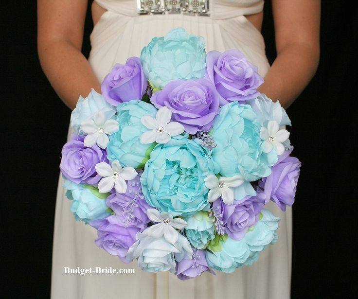 Tiffany Blue and Lavender Wedding Flowers. Stunning Tiffany Blue peonies bridal bouquet silk flowers.