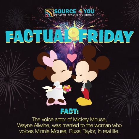 Factual Friday:  The voice actor of Mickey Mouse, Wayne Allwine, was married to the woman who voices Minnie Mouse, Russi Taylor, in real life.