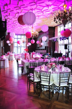 Paper lanterns at a pretty in pink Bat Mitzvah {Photo by Lucibelle Photography}