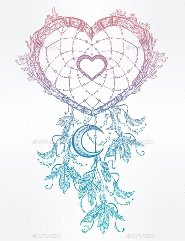 Heart Shaped Dream Catcher With Moon.,art, catcher, crescent, decorative, design, dream, ethnic, fashion, feather, graphic, heart, hippie, illustration, indian, invitation, isolated, love, magic, moon, native, ornament, print, symbol, tattoo, tribal, valentine, valentines, valentines day, vector, vintage