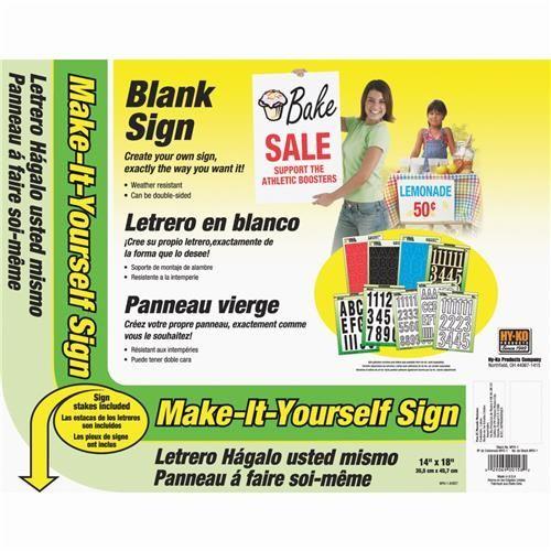 Hy-Ko Make-It-Yourself Corrugated Plastic Sign Kit, Grey