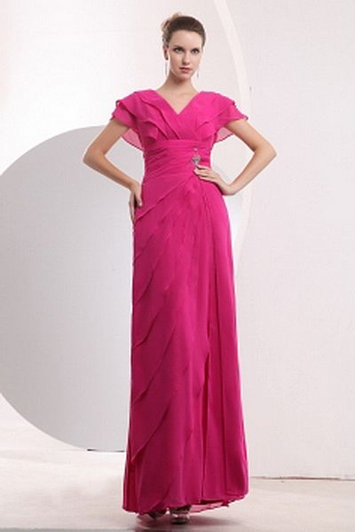 V-Neck Elegant Pink Homecoming Dress - Order Link: http://www.theweddingdresses.com/v-neck-elegant-pink-homecoming-dress-twdn1537.html - Embellishments: Beading , Layered , Ruched , Sequin; Length: Floor Length; Fabric: Chiffon; Waist: Natural - Price: 163.35USD