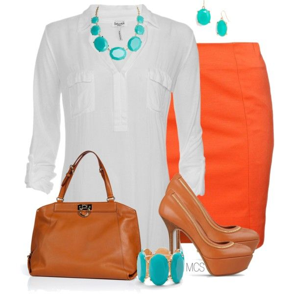 """""""Teal and Orange"""" by mclaires on Polyvore"""