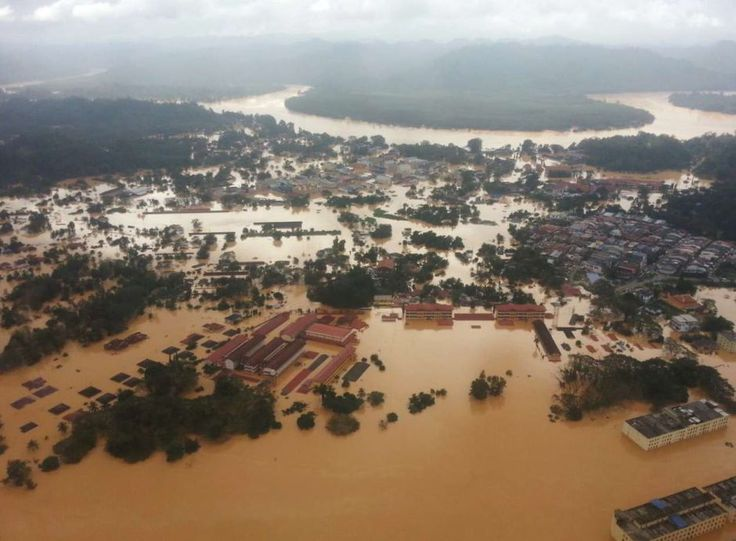 Water world: The aerial view of Kuala Krai, Kelantan, which is inundated with floodwaters.