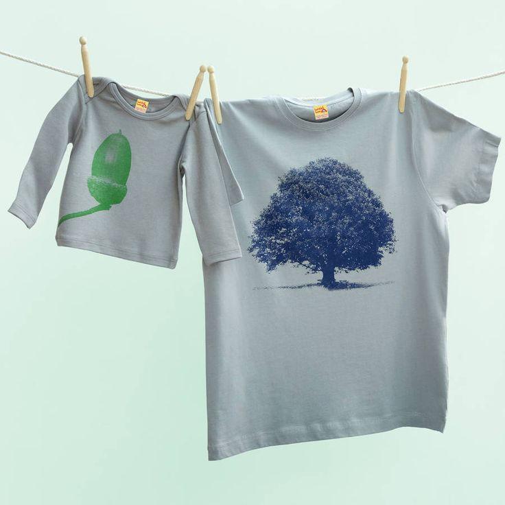 Oak And Acorn T Shirt Set Blue And Green Version