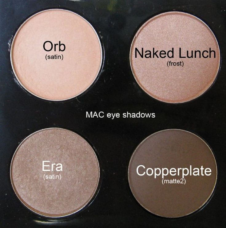 Nude MAC Eyeshadows:  Orb - light peachy beige, Naked Lunch - soft pink w/ shimmer, Era - light golden beige w/ shimmer & Copperplate - soft matte grey.