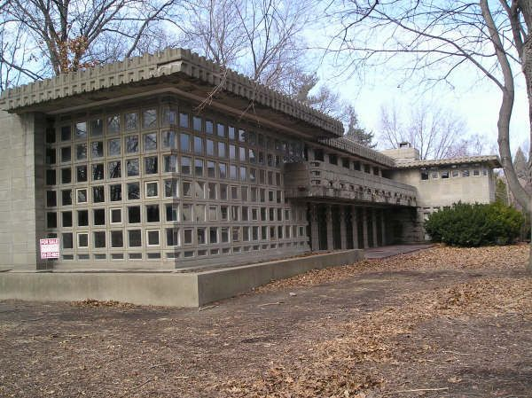 Frank Lloyd Wright's Dorothy Turkel, Detroit, Michigan. It started to fall into a dilapidated state in 1978 as it passed between many owners. It is currently reinhabited and under renovations.