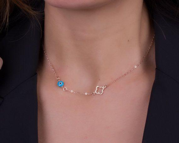 Evil eye necklace clover necklace blue evil eye by OlizzJewelry, $25.90