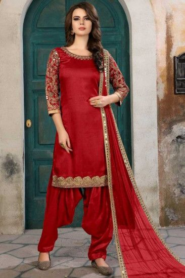 17b8a61050 Hand Embroidered Art Silk Cardinal Red Patiala Suits - LSTV0082 ...