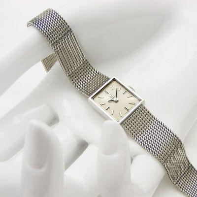 オメガ 10KGF スクエアフェイス オリジナルメッシュベルト レディースウオッチ 分解掃除済み – 女性用アンティーク腕時計の販売・ドレス