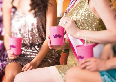 Michaels.com Wedding Department: Girl's Night Out Pink Mustache Custom Cups Girl's Night Out MiDesign@Michaels Pink Mustache Custom Cups are perfect for a bachelorette party! They're cute and easy to design. Just log on to invitations.michaels.com to get started.