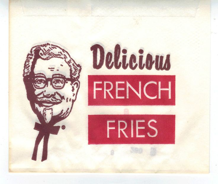 1950 39 s 60 39 s kfc french fry bag just kinda creepy french - Kentucky french chicken ...