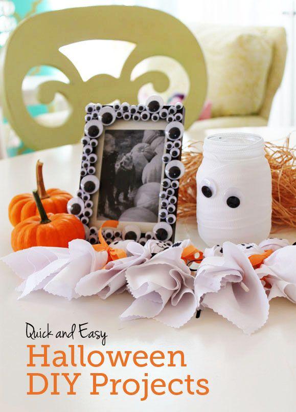 marco de fotos hecho con ojos bailones halloween diy decoracion