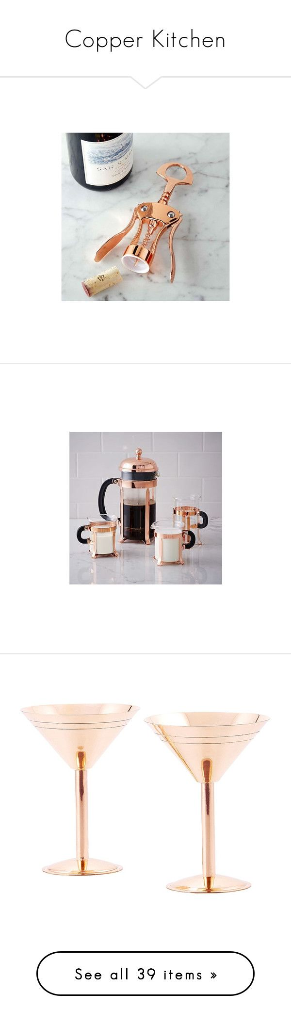 """Copper Kitchen"" by hellobrit ❤ liked on Polyvore featuring home, kitchen & dining, bar tools, wine corkscrew, wine opener, winged corkscrew, wine corker, wine bottle corker, serveware and clear"
