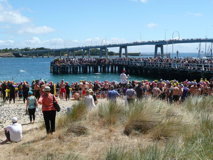 The crowd waits for the start of the Channel Challenge