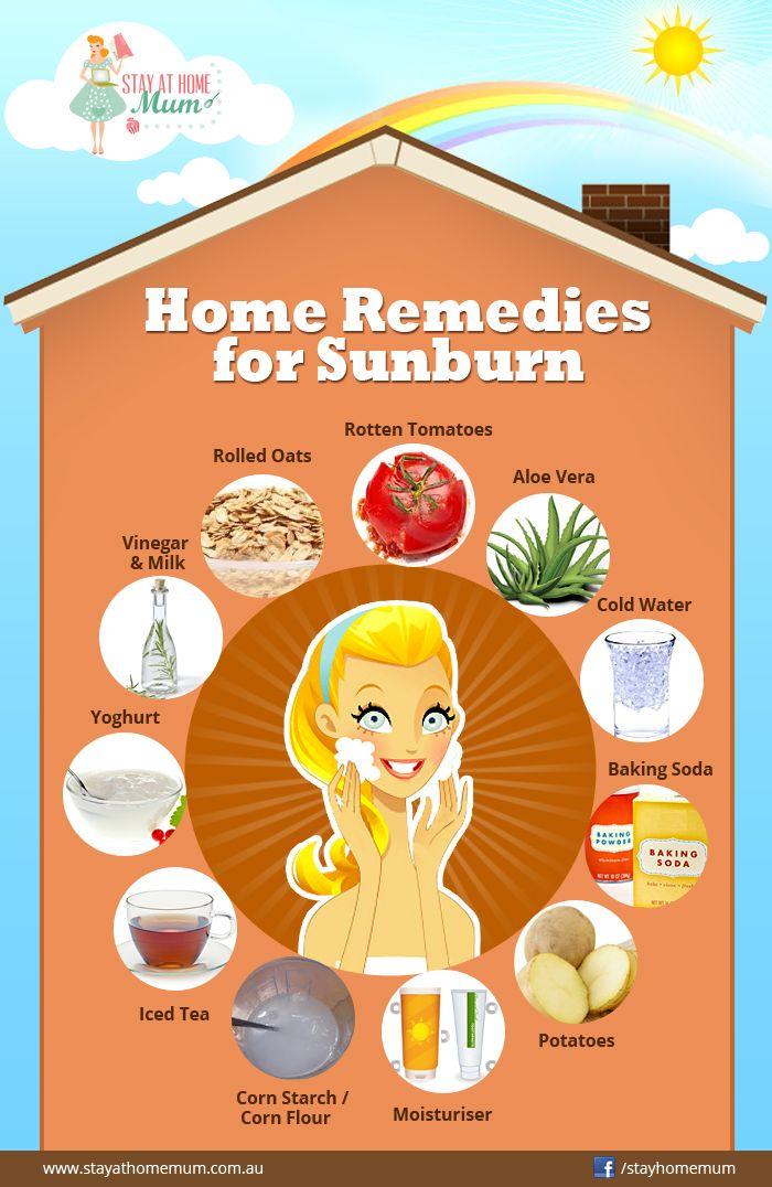 Home Remedies for Sunburn- good ideas but always remember to wear sunblock, obviously. #sunburnremedies #sunburn