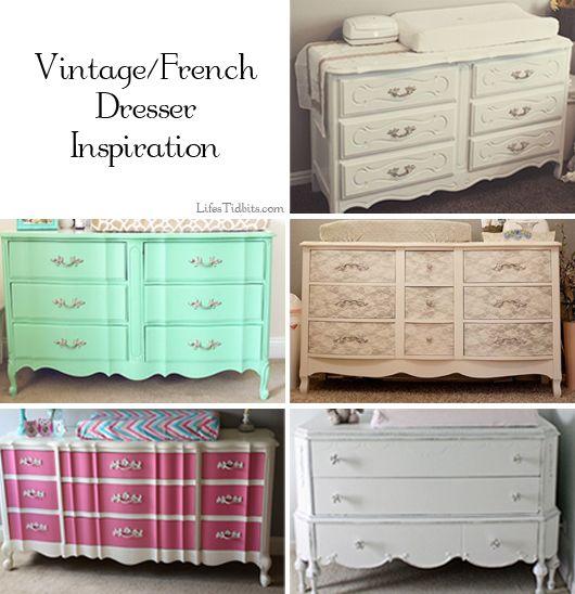Girl Nursery Dresser. Shabby Chic, Vintage, French Dresser.  Inspiration / Mood Board    Life's Tidbits