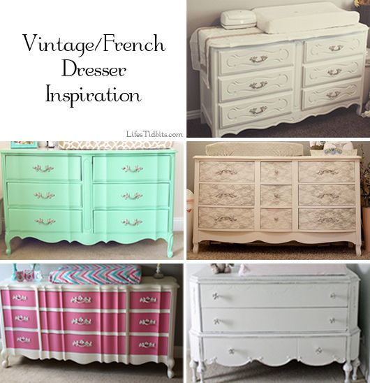 Girl Nursery Dresser. Shabby Chic, Vintage, French Dresser.  Inspiration / Mood Board  | Life's Tidbits