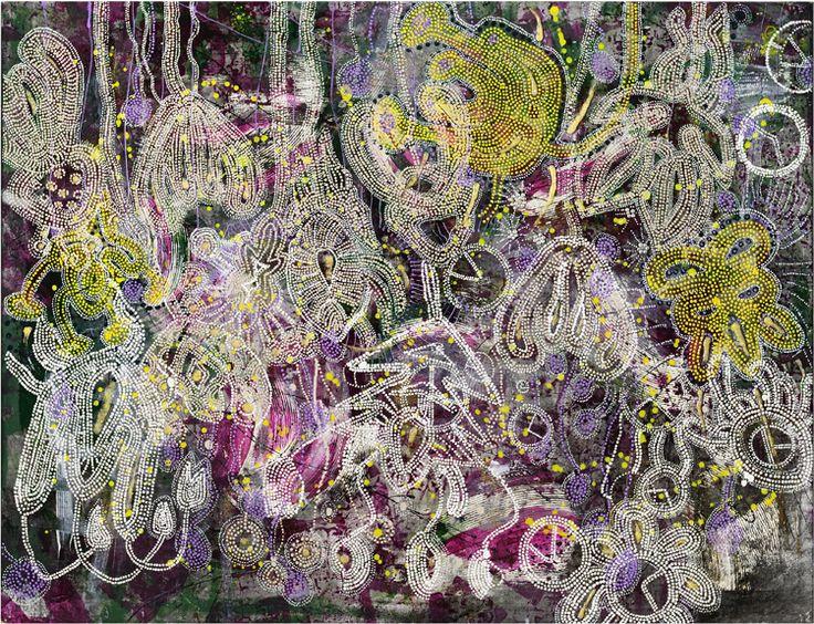 Bluma, Mixed Media Painting, Veronica Gunnarsson