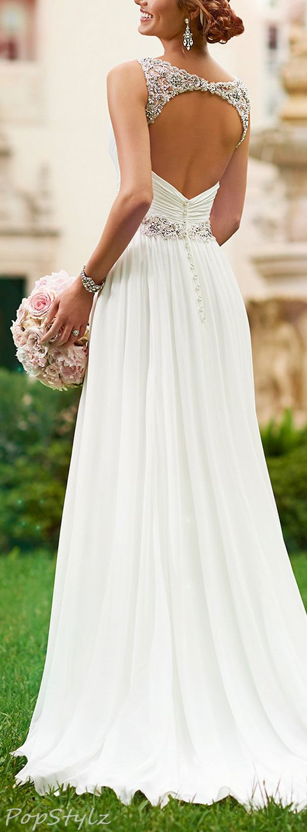 Love the top of the back of this dress! Harshori V-Neck Detailed Shoulder Straps Wedding Gown