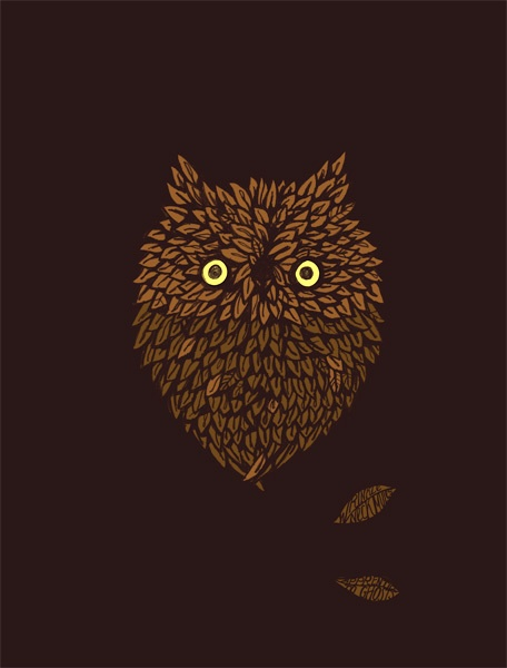 hoot: Leafi Owl, Gig Posters, Posters Gigpost, Graphics Design, Posters Illustrations, Adam Stockton, Owl Posters, Inspiration Art, Art Full
