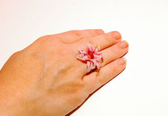 Flower adjustable ring. Pink lilium. shrink by MeandMamaCreations