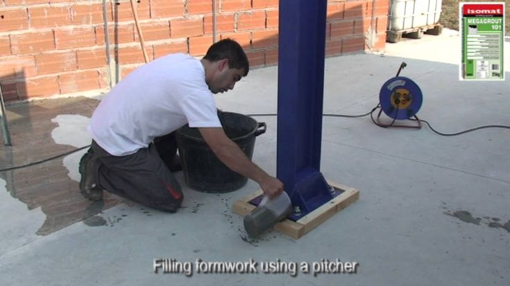 Precision grouting of steel column (pillar) with MEGAGROUT-101 by ISOMAT...