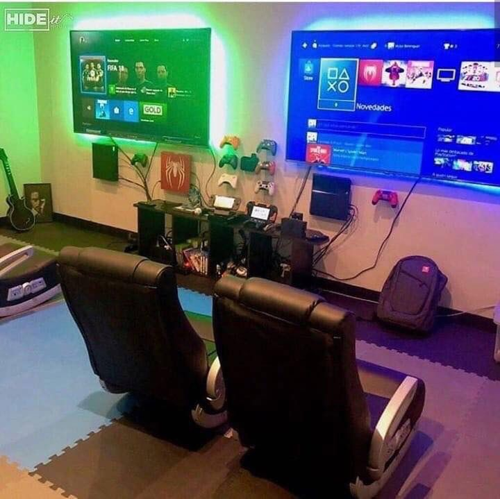 Here are some popular wall decor ideas featuring video gamer favorites. Couple Gaming   Video game rooms, Video game room design ...