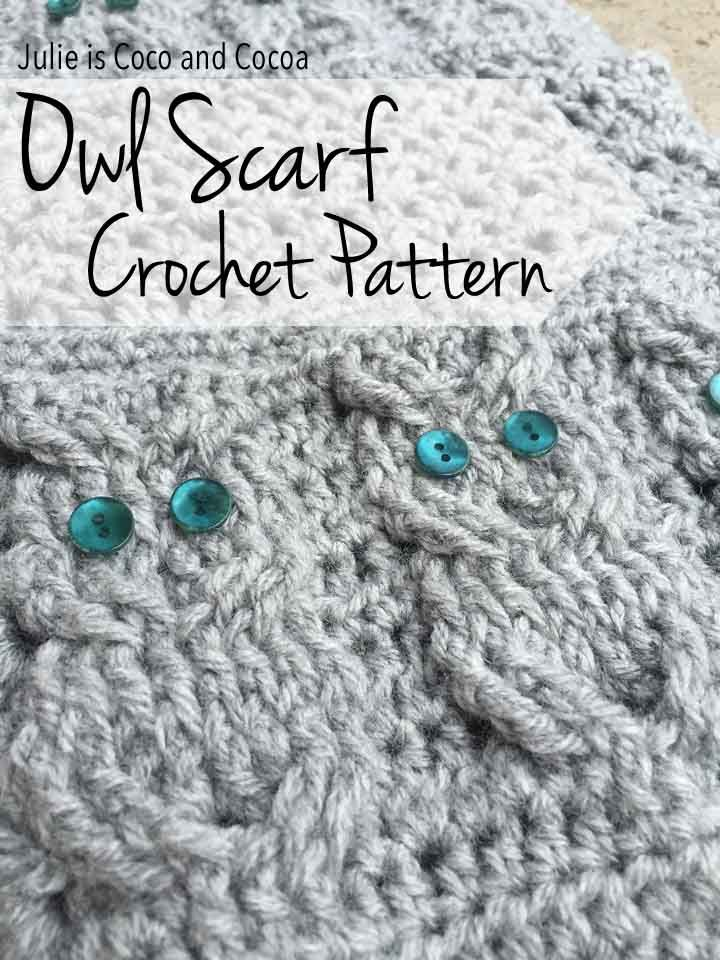 Crochet owl scarf to match your hat and gloves get the patterns to