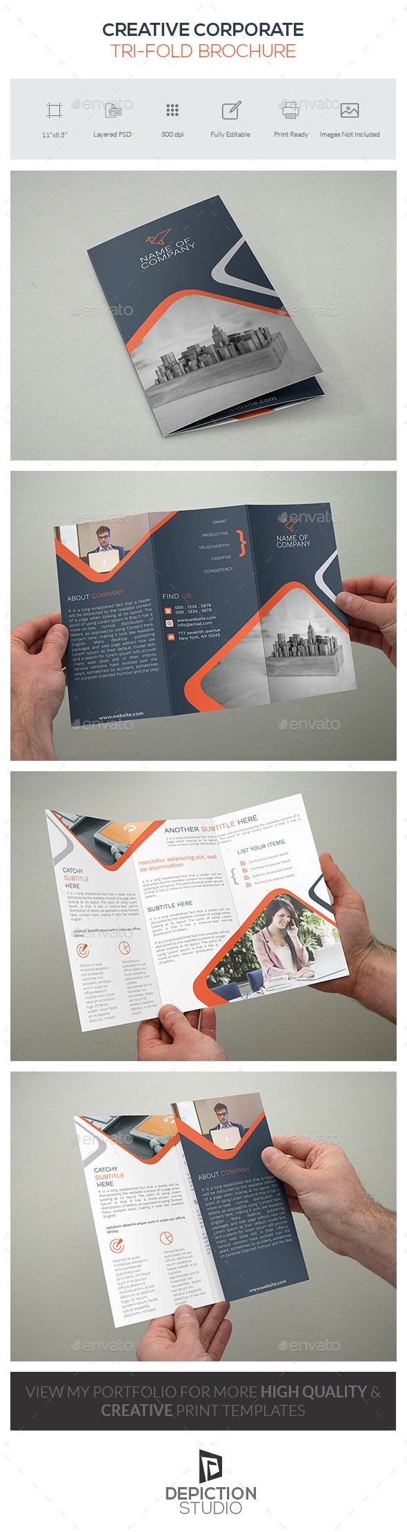 Creative Corporate Tri-Fold Brochure Template PSD #design Download: http://graphicriver.net/item/creative-corporate-trifold-brochure/14397211?ref=ksioks