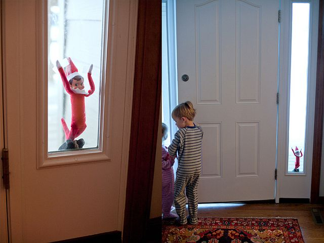 elf trapped outside!Holiday, The Doors, Elf1Jpg 554415, Elf On Shelf, Front Doors, Trap Outside, Shelf Ideas, Christmas Ideas, Elves