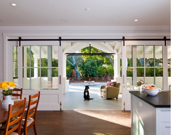 Large sliding doors to patio