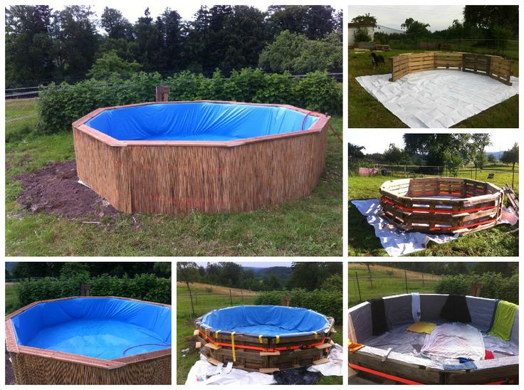 Swimming pool made out of wooden pallets for under 80 for Pool designs under 30000