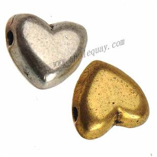 Zinc Alloy Heart Love Smooth Beads,Plated,Cadmium And Lead Free,Various Color For Choice,Approx 8.5*9.5*5mm,Hole:Approx 1.5mm,Sold By Bags,No 010779