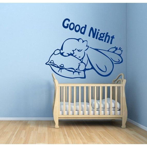 Good Night Quote Vinyl Sticker Sleeping Baby Decal Child Home Design Art Mural Nursery Room Sticker Decal size 22x22 Color Blue