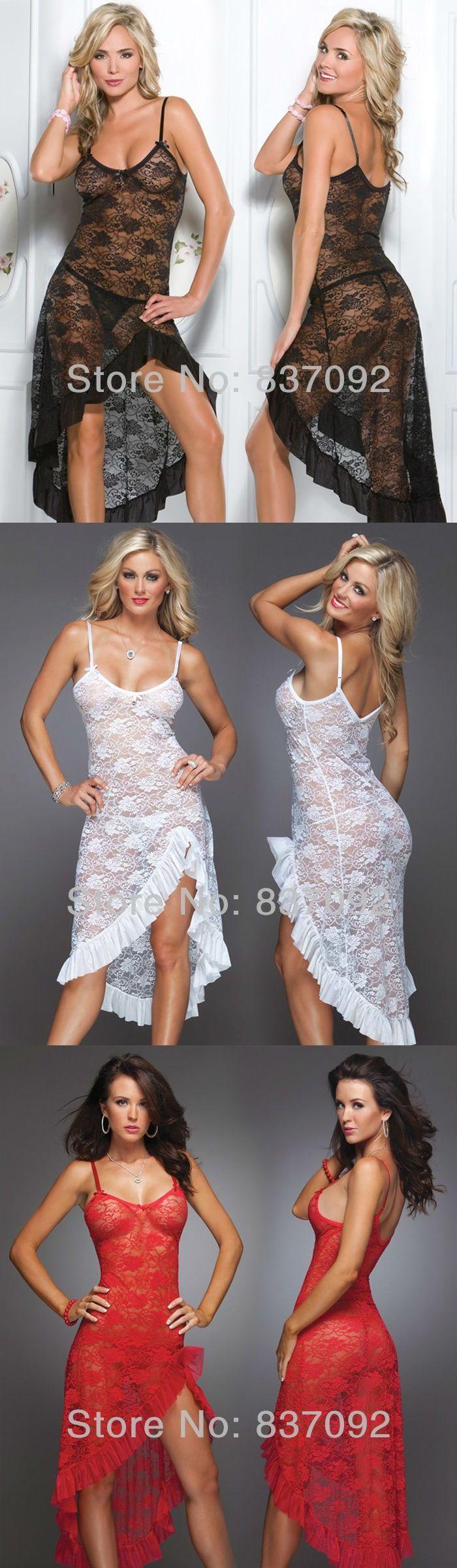 Black White Red Plus Size S M L XL XXL 2XL 3XL 4XL Lingerie Nightgown Gown Long Lace Babydoll Chemise Sleepwear  -7112
