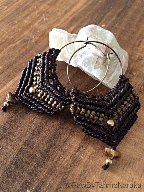 Lotus Flower Macrame Hoop earrings, tribal, nomad, gypsy, pixie, hippy, bohemian, earthy, natural, brass, hipster