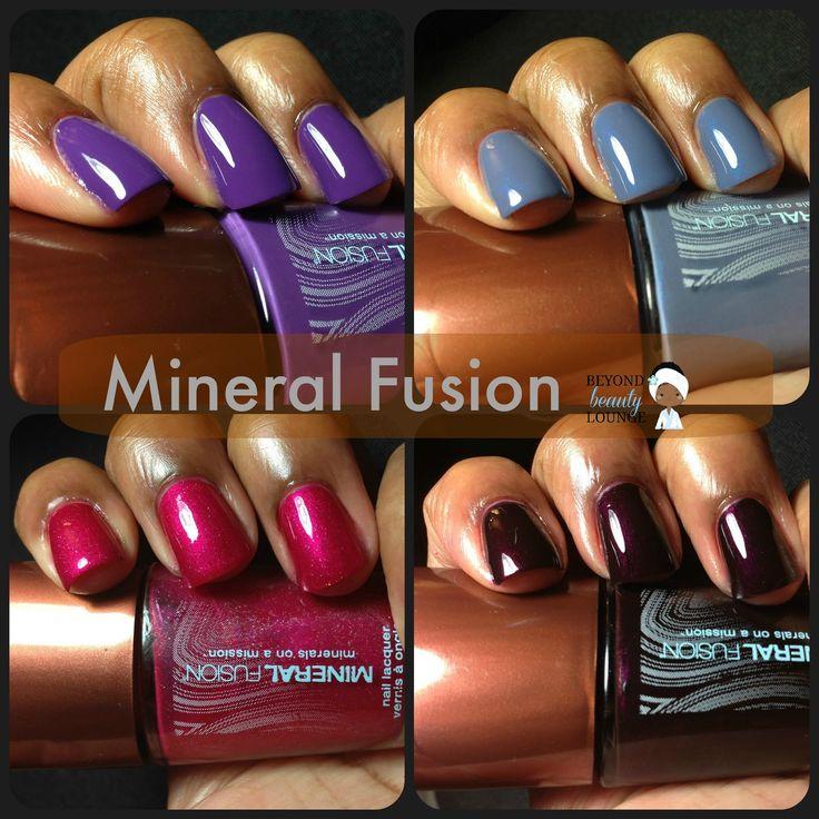 Mineral Fusion Vegan Nail Polish Swatches of Rock Cress,  Grotto, Brilliant & Amethyst