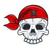 Pirate Skull Tattoo - Vector Cartoon Illustration — Stock Vector
